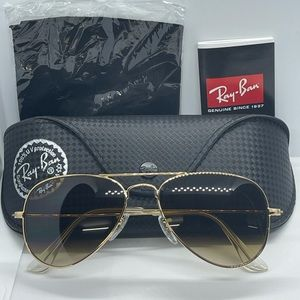 BNIB Never Worn Rayban Rb3025 Gold with Brown Grad